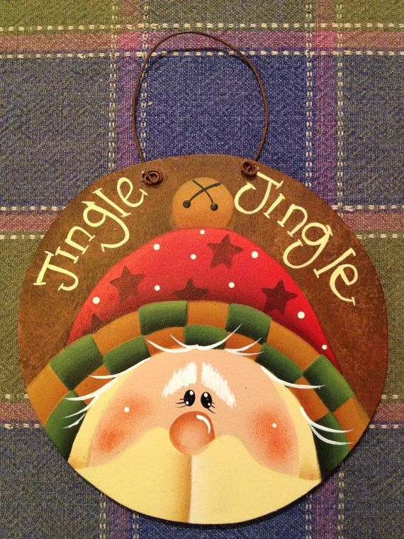 Jingle Jingle Santa Round Rusty Hand Painted Wood Christmas Ornament  Front is hand painted to look like rusty tin    This is made from 1/4