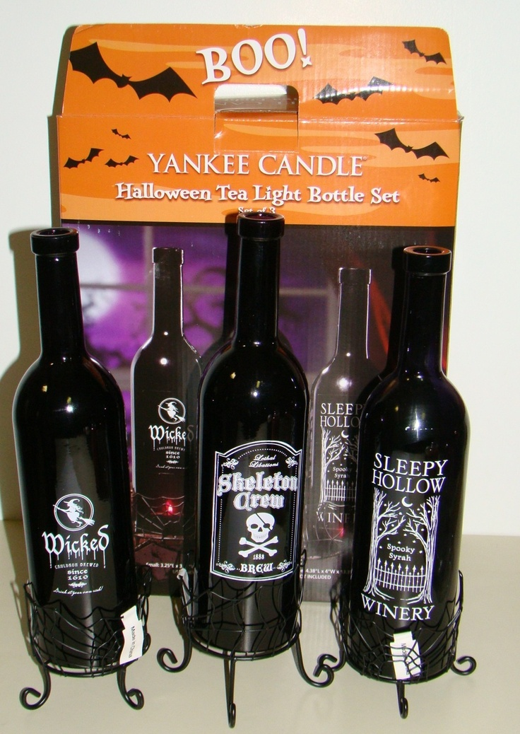 Yankee Candle Halloween Boney Bunch Skeleton Crew Bottle Tealight Holder Set