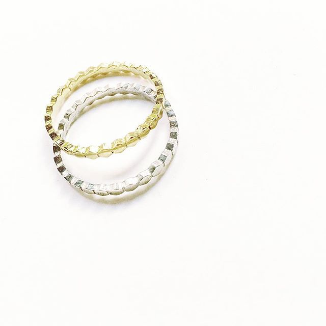 Sterling Silver Honeycomb Rings #14Kgold #SMUSMY 350 DKK