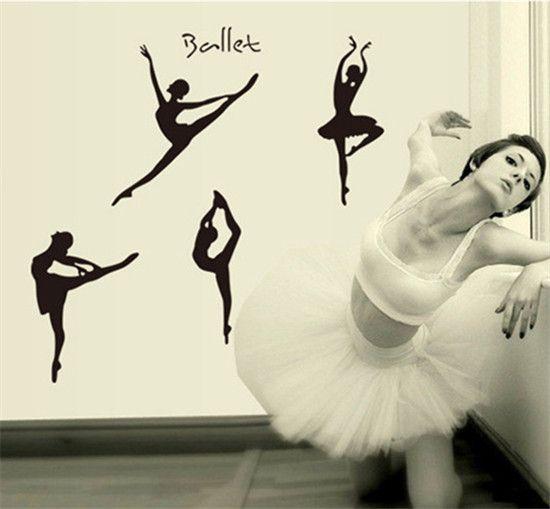 Quatro Meninas Dancer Ballet Bailarina Decalque Da Parede Removível Decalque Da Parede Do PVC Adesivos Gráficos para Estúdio de Ballet Menina Quarto HF44(China (Mainland))