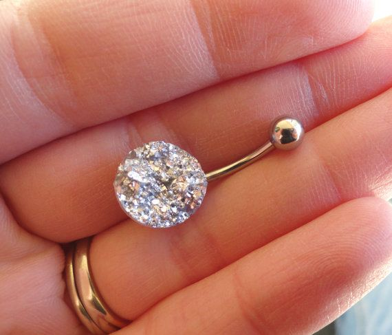 Iridescent Silver Druzy Belly Button Jewelry Ring by MidnightsMojo /// this is so beautiful