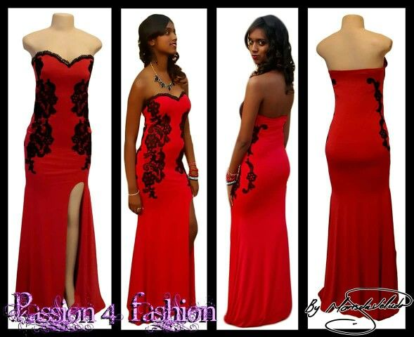 Red evening dress detailed with black lace on the sides, front & back. With a sweetheart neckline finished with black scallop lace and a slit. #mariselaveludo #fashion #eveningwear #lace #passion4fashion #reddress