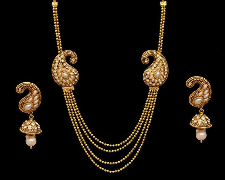 Long Rani Haar Indian Fashion Bridal Necklace Earrings Jewelry Gold Plated Pearl