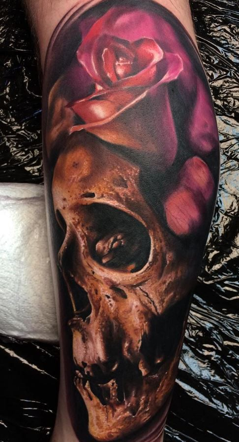 Flower & Skull Tattoo