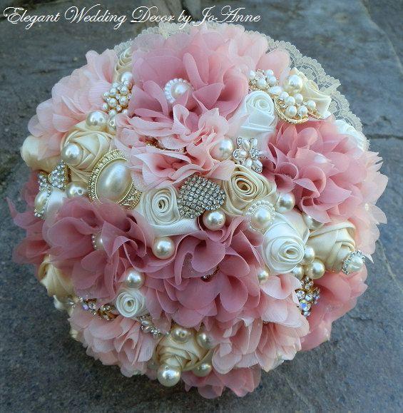 FABRIC FLOWER BOUQUET Custom Gold Jeweled by Elegantweddingdecor
