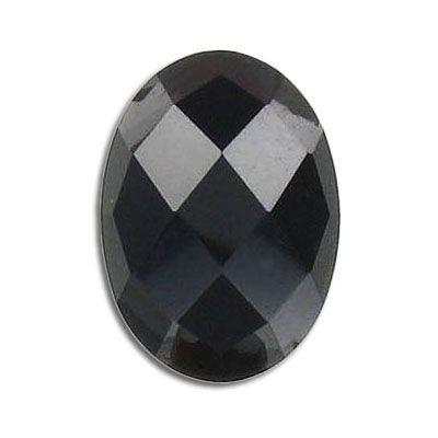 Cabochon semi-precious, faceted, 25x18mm, black obsidian