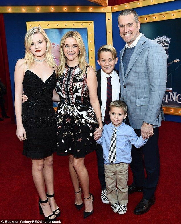 Mother-of-three: Reese Witherspoon proudly posed with her three children - Ava, Deacon, and Tennessee - and second husband Jim Toth at the Los Angeles premiere of Sing on Saturday