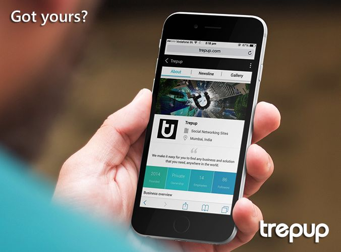 The Trepup business page is as complete as a website and as striking as a print ad. See for yourself. http://trepup.co/1Q5D7Wk