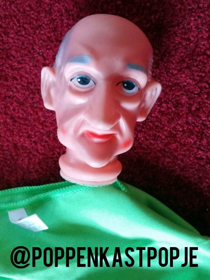 Man hand puppet. Kale man poppenkastpop. Kasperle Puppe. Rubber head. Plastic kop. Kaal. Bald.