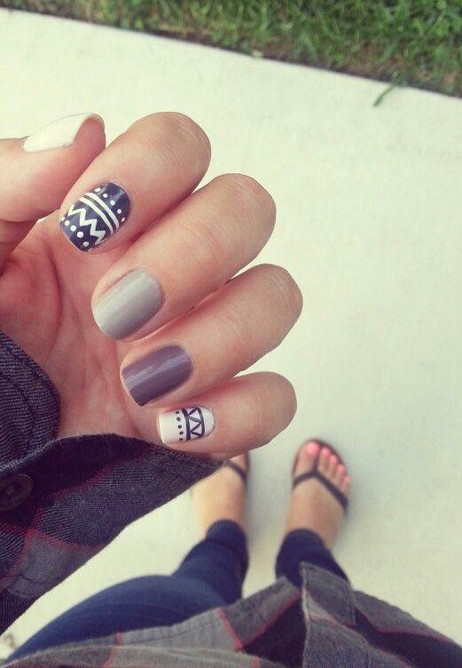 Nail - Polish - Manicure - Tribal - Grey - Black - Nude - Art