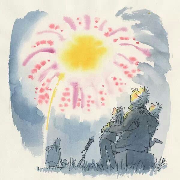 Quentin Blake Bonfire night. I like the way the artist uses shadows to draw the readers attention to the bright and vibrant colours shown above.