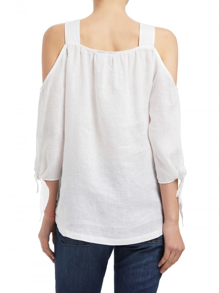 Featuring: - Cut out shoulder - Tie sleeve detail - 100% linen fabrication
