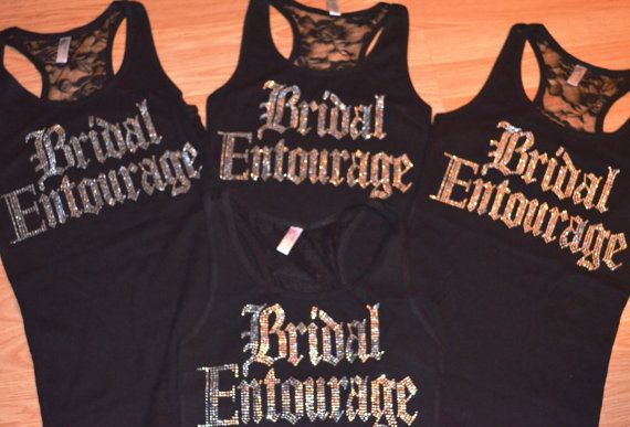 8 Bridesmaid half lace rhinestone Tank Top Shirts. Bridal Entourage Lace tank top. Bridal Party. Maid of Honor. Bachelorette party tanks. on Etsy, $160.00