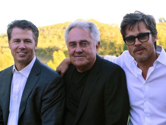 Doug Pitt, left, and Brad Pitt, right, were together with their father Bill at Brad's wedding to Angelina Jolie on Aug. 23 2014 in France.
