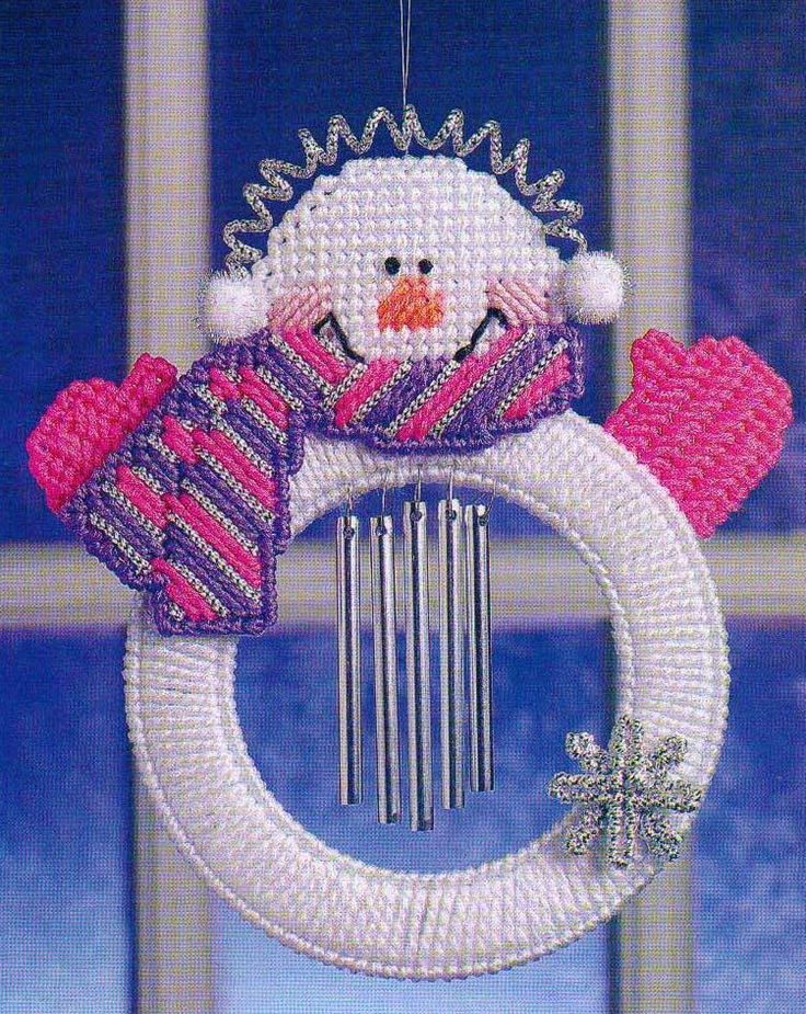 SNOWMAN WIND CHIME CHRISTMAS PLASTIC CANVAS PATTERN INSTRUCTION ONLY FROM A BOOK #PATTERNFROMABOOK