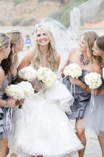 silver bridesmaid dresses could pop it with any accent color!