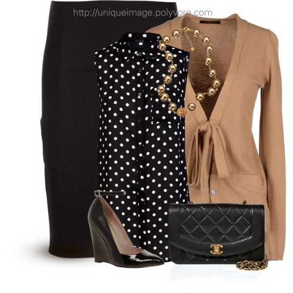 Work OutfitChic Outfit, Work Girls, Fashion, Polka Dots, Outfit Ideas, Working Girls, Pencil Skirts, Girls 14, Work Outfits