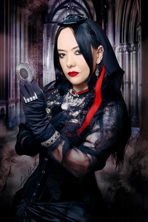 Cooperation with polish singer Anja Orthodox from gothic rock band Closterkeller. Photo by Pin Up Lady Sabath. Fascinator with veil, earrings, necklace and choker from store Black Garden