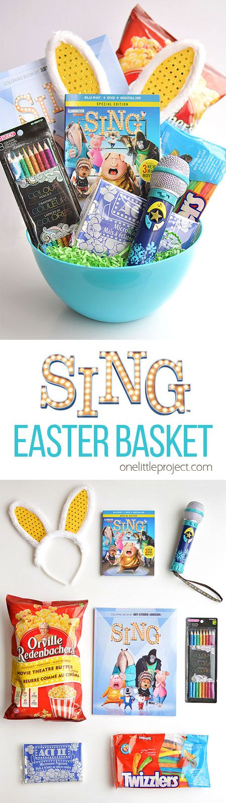 Make your own SING themed movie night Easter basket! With popcorn and all your favourite movie treats. The Blu-ray is in stores now! I love the bunny ears behind it. So cute! (sponsored)