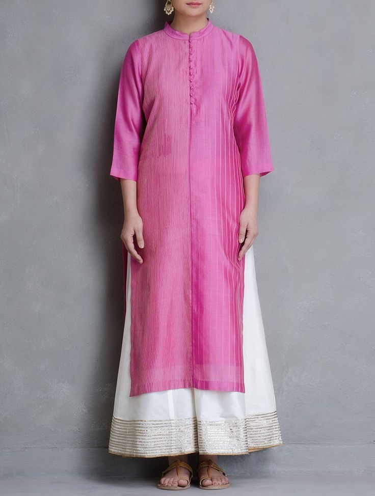 Buy Pink Pintuck Detailed Maheshwari Kurta Cotton Women Kurtas Online at Jaypore.com