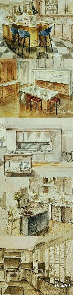 Watercolour illustrations of English McCarron&Co kitchens.