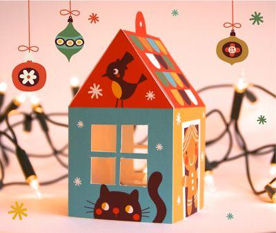 cette adorable maison est un photophore, mais les enfants adoreront y glisser leurs petits trésors*, ou jouer avec elle... (*dans ce cas, ne découpez pas les fenêtres ou doublez les de plastique)