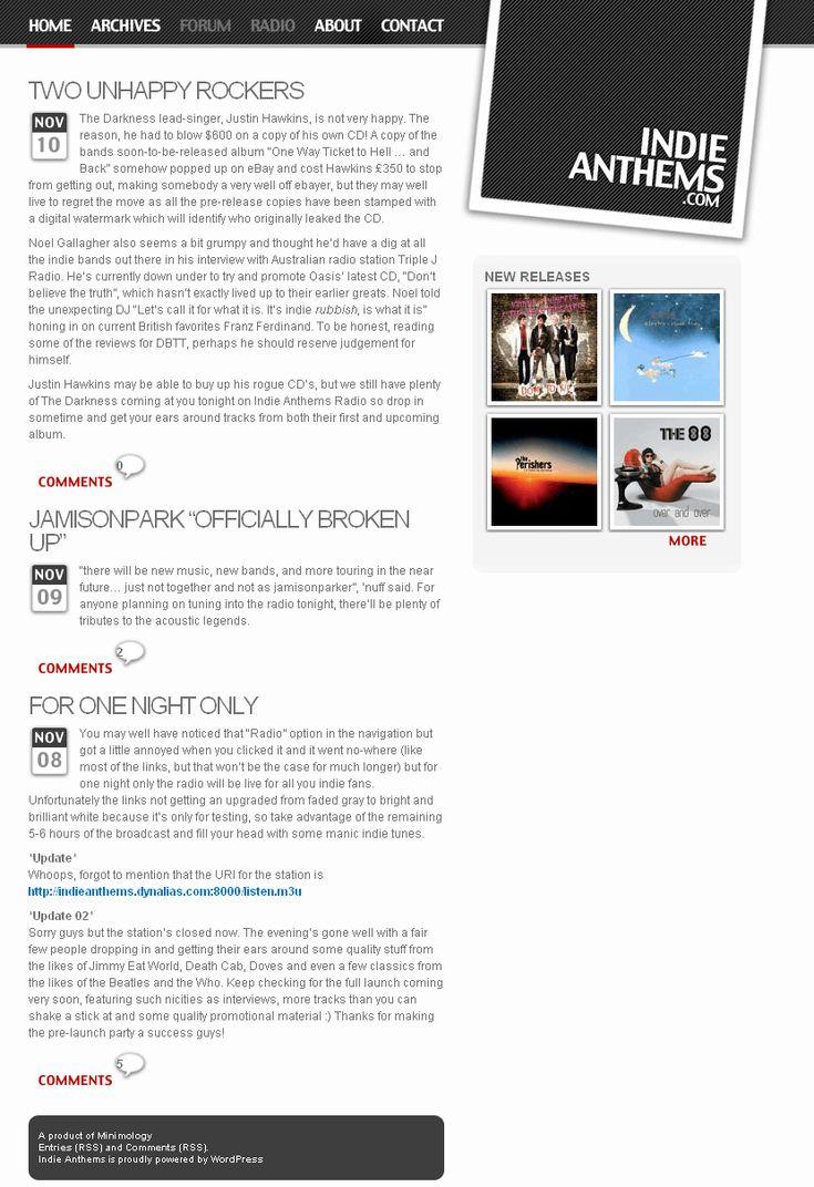 Indie Anthems website in 2005
