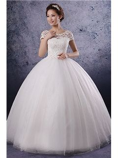 Unique Ball Gwon A-line/Princess Short Sleeves Lace Corset Bodice Wedding Dress Vintage Wedding Dresses - ericdress.com 10460350