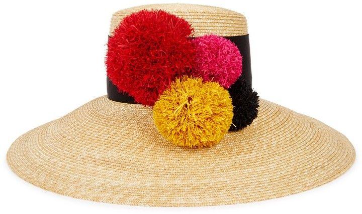 EUGENIA KIM Mirasol pompom straw wide-brim hat