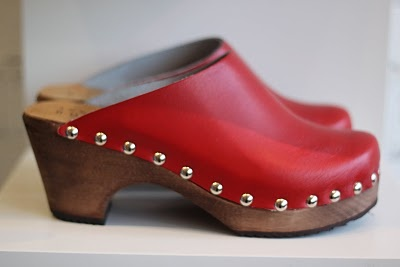 Ann-Louise Roswald clogs are here! Handmade in Sweden for you or someone you love. 'Jane' in red $160 .... (want want want... love clogs!)