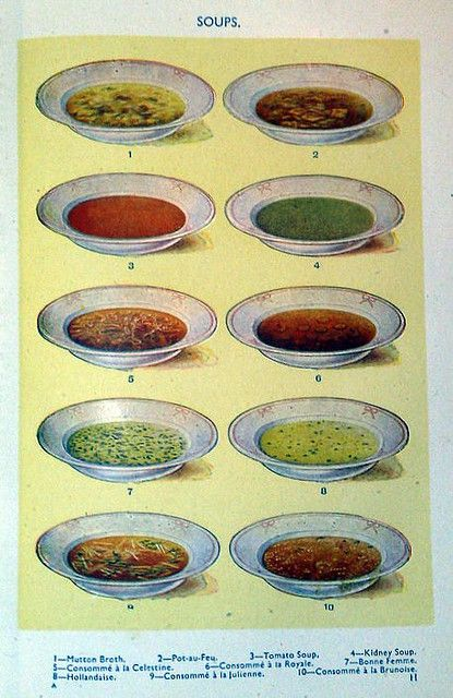 Soups - from Mrs Beeton's Book of Household Management (1861).
