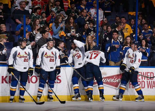 St. Louis Blues warming up in special St. Louis Cardinals jerseys!