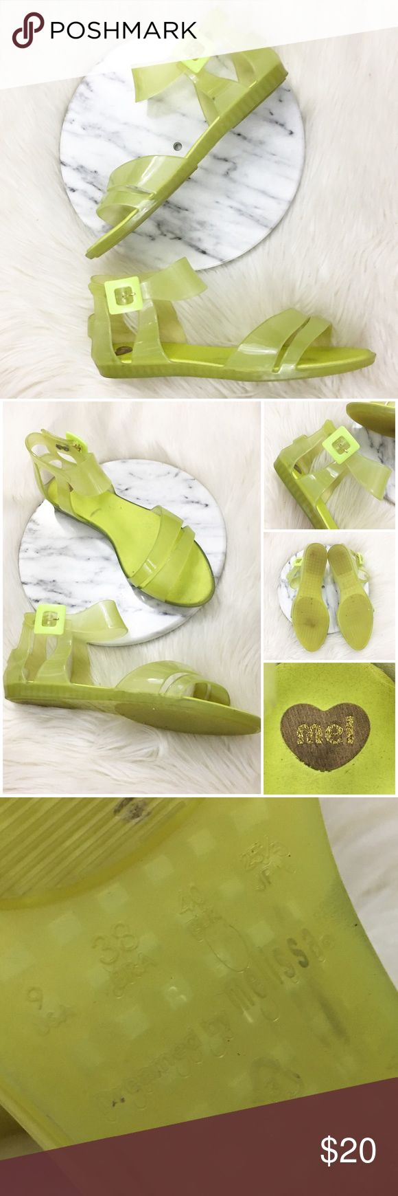 Melissa Yellow Lime Ballerina Jelly Flat Sandals Mel by Melissa Yellow Lime Ballerina Jelly Flat Sandals. Size 9. These do run true to size and are one of the most comfortable Jelly shoes I've worn. Thank you for looking at my listing. Please feel free to comment with any questions (no trades/modeling).  •Condition:  VGUC, no major flaws. Light discoloration on the inside towards the front. No outside flaws. Bottoms are in great condition as well.   25% off all Bundles or 3+ items…