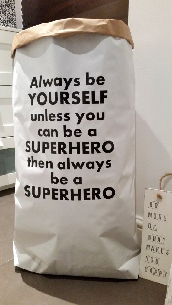 Superhero - kraft paper bag. Check out this item in my Etsy shop https://www.etsy.com/uk/listing/252532976/superhero-personalised-toy-bag-storage