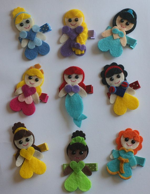 Pretty Princesses Hair Clip Set  Disney by CravingCuteness on Etsy, $30.00