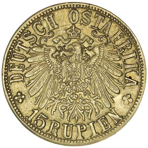 GERMAN EAST AFRICA, fifteen rupien, 1916T (Tabora) (KM.16.1). Click VISIT to find out more and see 10,000+ Gold Coins at MAD On Collections.  Check us out on Facebook - https://www.facebook.com/Mad-on-Coins-102632607015357/  Please feel free to pin or share this coin.