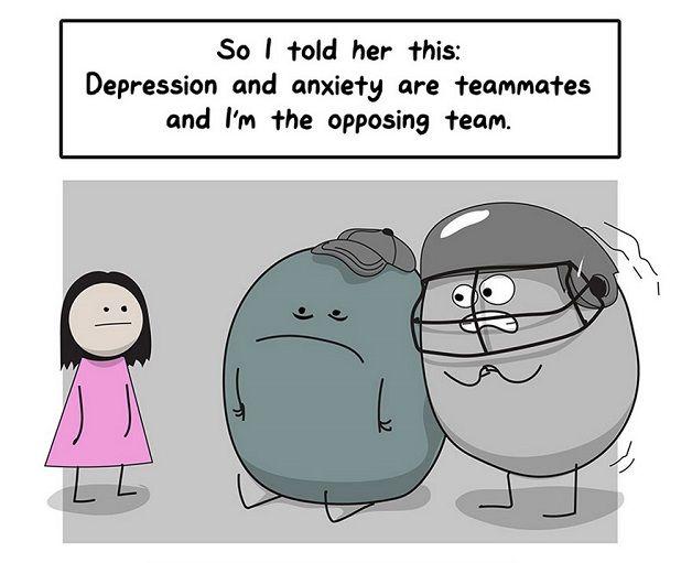 tirinha sobre ansiedade e depressao