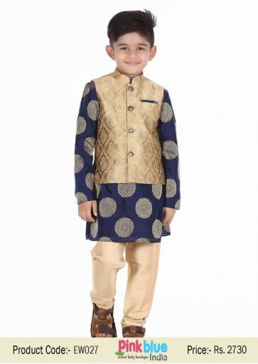 Indian Ethnic Wear for Kids | Designer Embroidered Kurta Pyjama with Long Jacket | Traditional Indian Wedding Outfits for Childrens