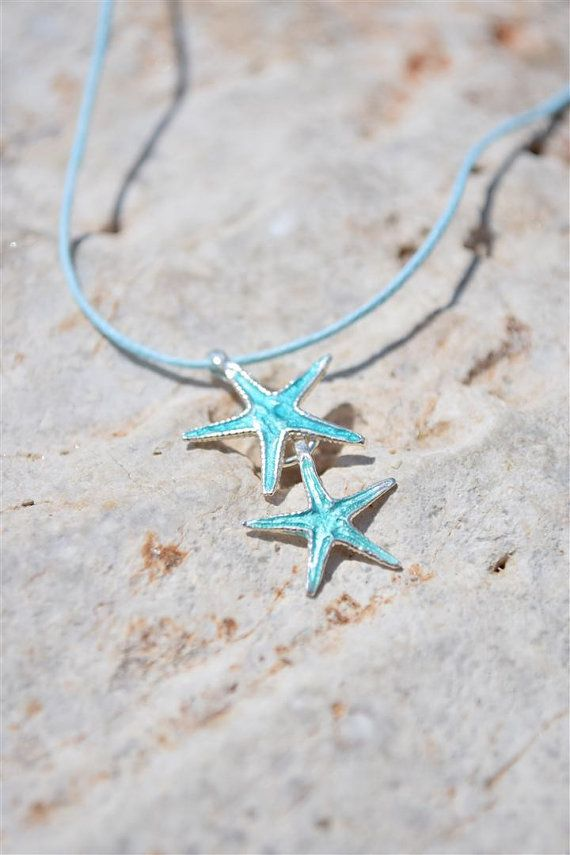 Beach Wedding Jewelry, Silver Starfish Necklace, Starfish Pendant, Starfish Charm, Turquoise Pendant, Bridesmaid Gift, Beach Necklace
