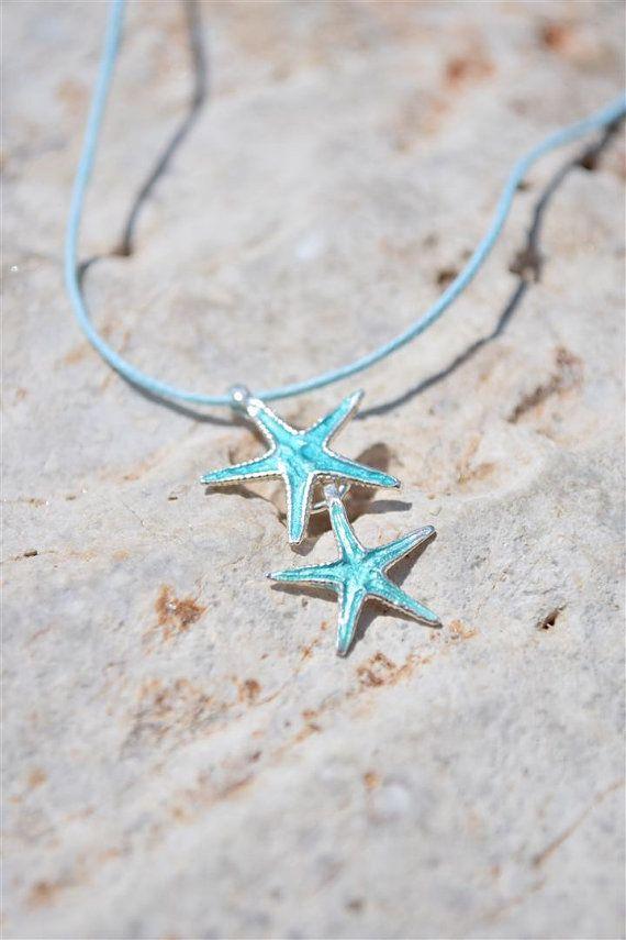 Beach Wedding Jewelry, Silver Starfish Necklace, Starfish Pendant, Starfish Charm, Turquoise Pendant, Bridesmaid Gift, Beach Necklace