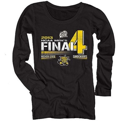 Wichita State Shockers 2013 Men's Basketball Tournament Ladies Final Four Bound Vanish Long Sleeve T-Shirt - Black  Price: $23.95