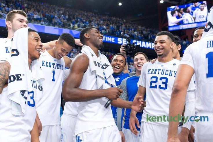 Kentucky forward Alex Poythress, center, address the crowd after UK defeated LSU, 94-77 The University of Kentucky hosted the LSU Tigers, Saturday, March 05, 2016 at Rupp Arena in Lexington .