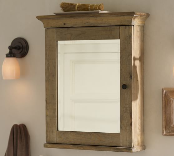 mason reclaimed wood wallmounted medicine cabinet wax pine finish pottery barn
