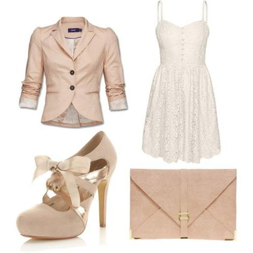 cute dress and jacket!: Cream Lace Dresses, Pink Outfits, Blushes Shoes, Lace Bows, Theme Outfits, No Shoes, The Dresses, Jackets Dresses, Little White Dresses