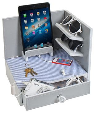Corner Charging and Sunglasses Station, Cottage - modern - Home Office Products - Great Useful Stuff
