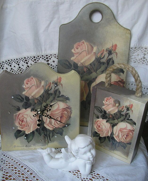 """комплект для кухни""""Ах,эти розы!"""" - набор для кухни,часы настенные,разделочная доска"""