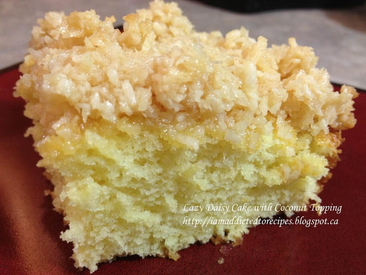 Lazy Daisy Cake with Coconut Topping