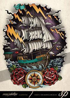 Sailboat on Stormy Seas Tattoo by Sam-Phillips-NZ on DeviantArt. www.samphillips.co.nz