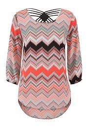 contrast lattice back chevron high-low tunic - maurices.com