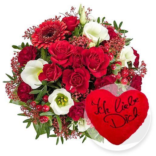 Eine Schöne Geschenk Idee Zum Valentinstag Blumenstrauß Ich Liebe Dich! Und  Kuschel Herz Ich